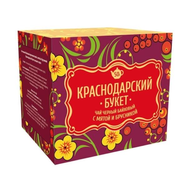Чай Краснодарский букет черный байховый с мятой и брусникой