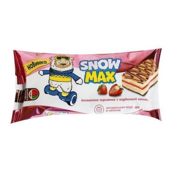 Пирожное бисквитное Snow Max с клубничной начинкой декорированное