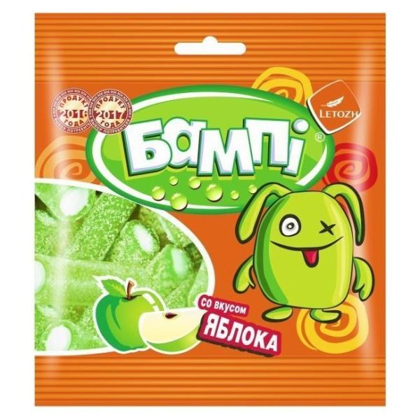 Мармелад жевательный Бампi трубочки со вкусом зелёного яблока в обсыпке
