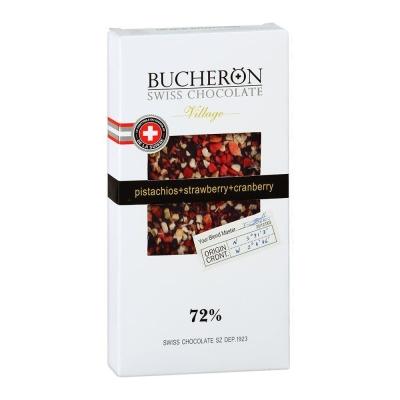Шоколад Bucheron горький с клюквой, клубникой, фисташками