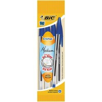 Ручка BIC Кристал, средняя линия, синяя, (пак. 4шт)