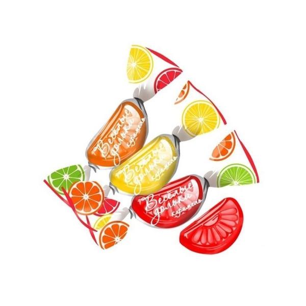 Карамель Невский кондитер Веселые дольки МИКС со вкусом лимона, апельсина, грейпфрута