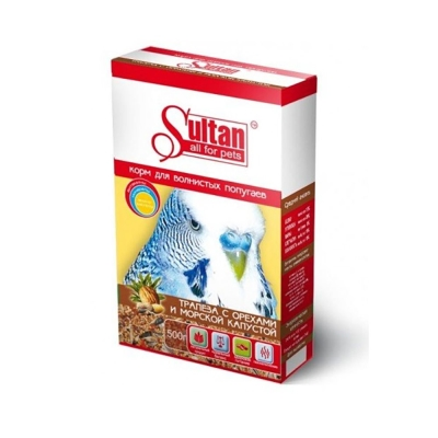 Корм Султан для волнистых попугаев трапеза с орехами и морской капустой