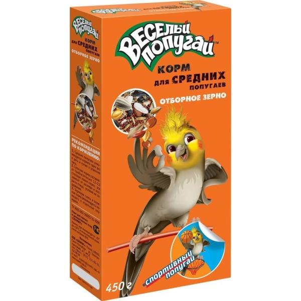 Корм Веселый попугай отборное зерно для средних попугаев