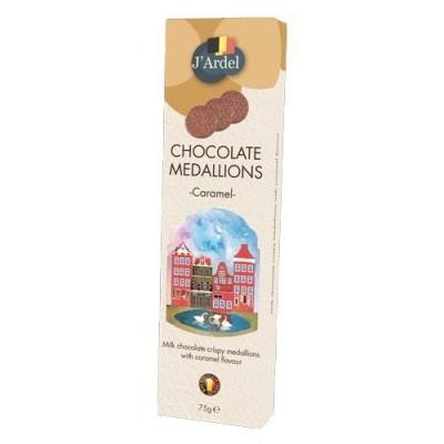 Медальоны хрустящие 'J'Ardel' из молочного шоколада с воздушным рисом и со вкусом карамели