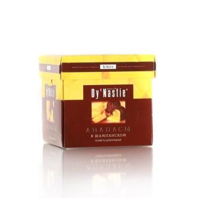 Конфеты шоколадные Династия Ананасы в шампанском (куб)