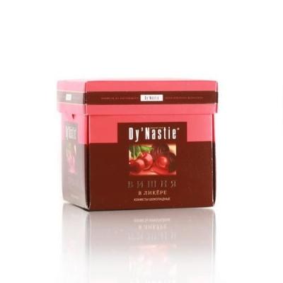 Конфеты шоколадные Династия Вишня в ликёре (куб)