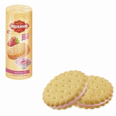 Печенье затяжное Яшкино С клубничным  кремом