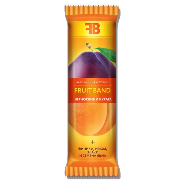 Батончик фруктовый FRUIT BAND с черносливом, курагой, семенами льна