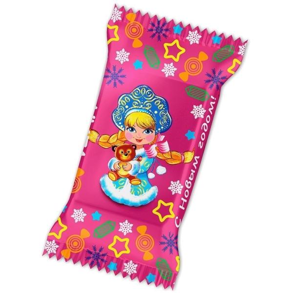 Конфеты С Новым годом! нуга со сливками с мягкой карамелью Снегурочка с косами
